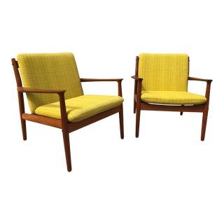 1960's Grete Jalk for Glostrup Mobelfabrik Teak Lounge Chairs - A Pair