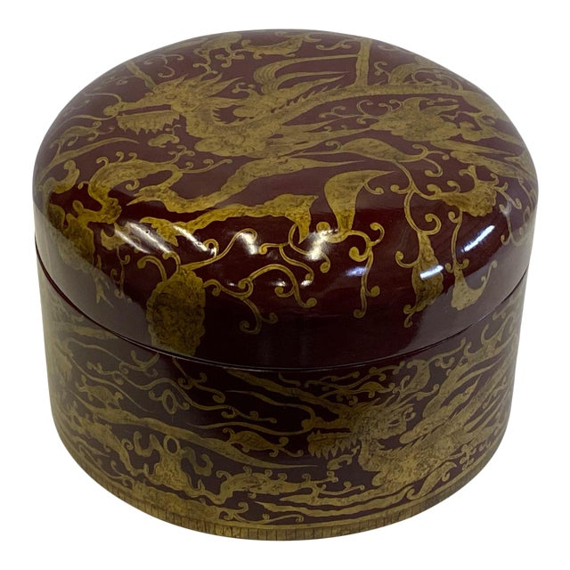 Maitland Smith Red Lacquer & Giltwood Box For Sale