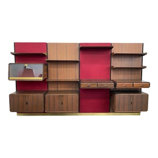 1950s Italian Modern Four Bay Wall Unit in Rosewood - Set of 4 For Sale