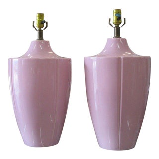 Lavender Pink Lamps - A Pair