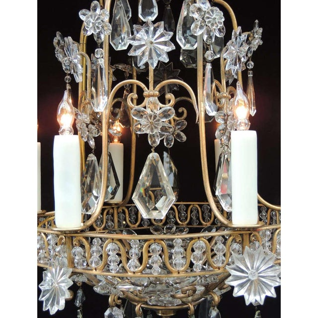 Early 20th C French Bronze Crystal Chandelier, attributed to Maison Baguès For Sale - Image 4 of 10