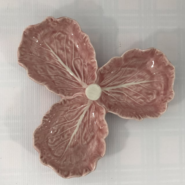 Pink Porcelain Lettuce Leaf Dish For Sale - Image 4 of 6