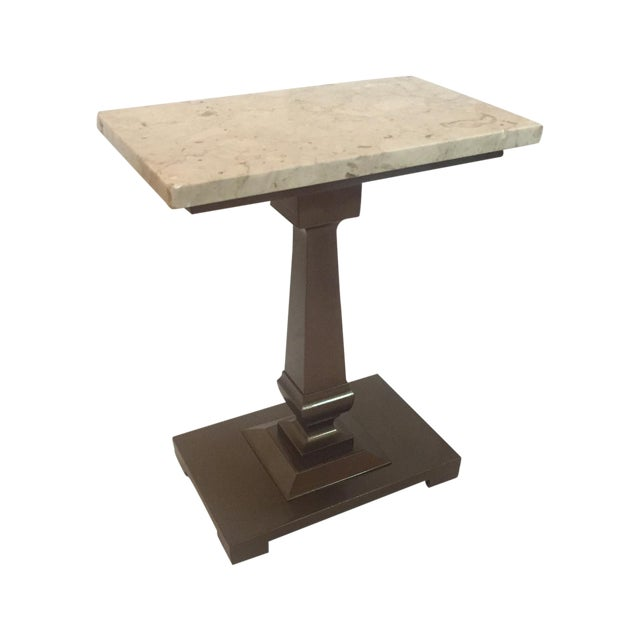 Vintage Cocktail/Cigar Table With Marble Top - Image 1 of 5