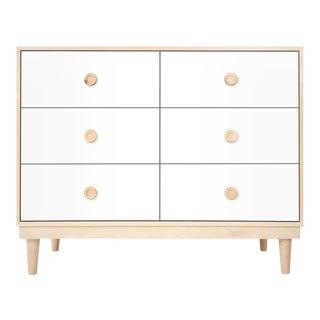 Lukka Modern Kids 6-Drawer Dresser in Maple With White Finish For Sale