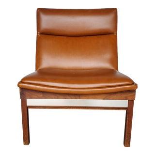 1950s Arthur Umanoff Walnut Modular Chair for Madison Furniture Camel Seat For Sale