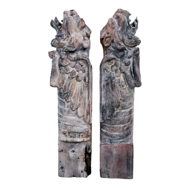 Carved Wood Griffin Eaves By Bernard Maybeck - a Pair For Sale