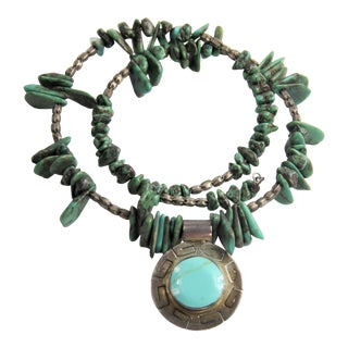 Estate Vintage Sterling Silver Turquoise Coil Necklace Signed Nm Mexico Pendant For Sale