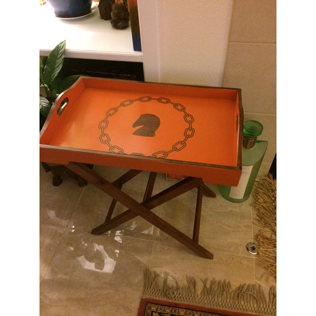 Lacquer Hollywood Regency Hermès Inspired Orange Equestrian Bar Tray Table For Sale - Image 7 of 12
