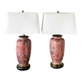 Vintage Frederick Cooper Pink Floral Lamps - A Pair