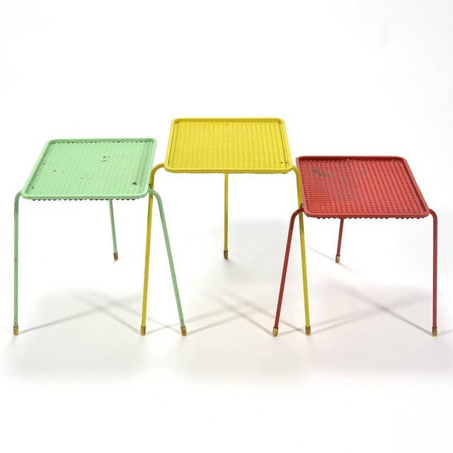 Mathieu Matégot Set of Three Soumba Nesting Table For Sale - Image 10 of 11