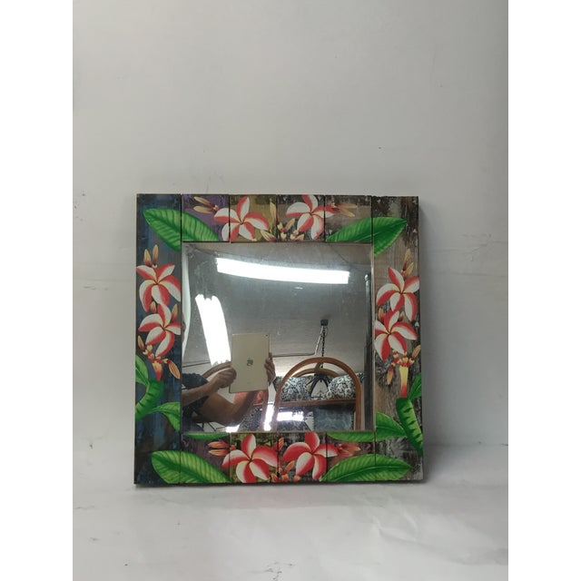 Floral Wooden Mirror - Image 2 of 4
