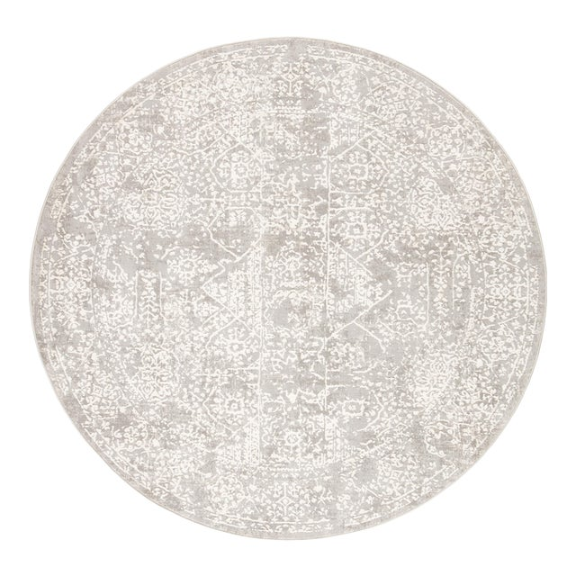Jaipur Living Lianna Abstract Gray White Round Area Rug 6'X6' For Sale