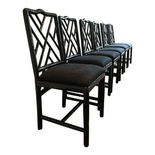 Modern Faux Black Chippendale Chairs- Set of Six For Sale