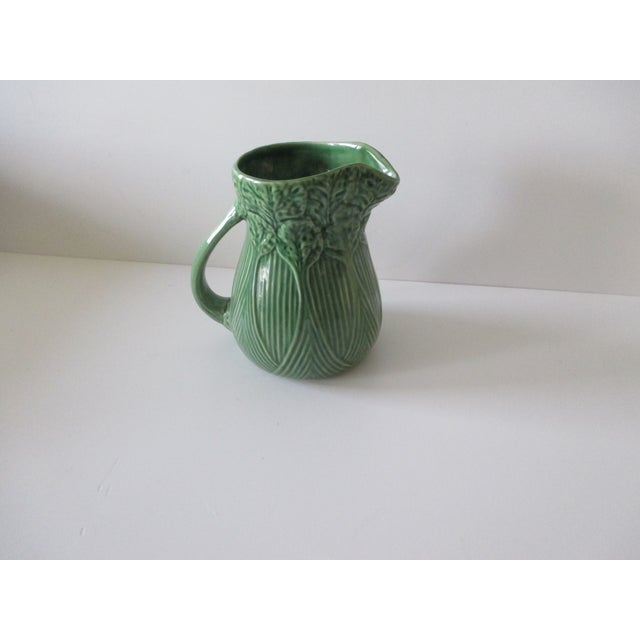 Ceramic Vintage Celery Green Pitcher Handcrafted in Portugal For Sale - Image 7 of 7
