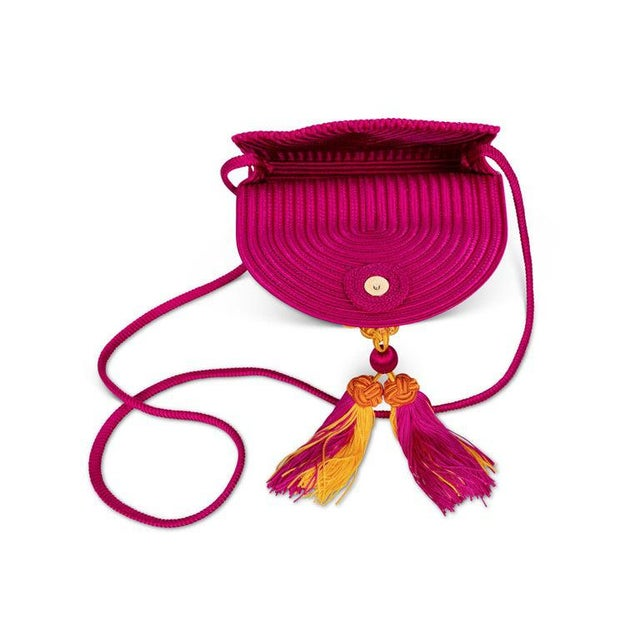 Boho Chic 1990s Yves Saint Laurent Ysl Pink Passementerie Yellow Tassel Shoulder Bag For Sale - Image 3 of 8