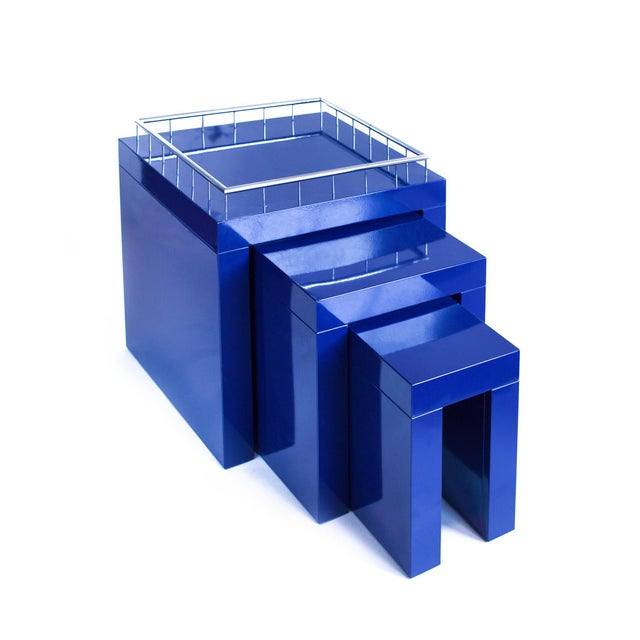 Art Deco 1970s Marco Zanini Memphis Group Blue Enameled Steel Nesting Tables - Set of 3 For Sale - Image 3 of 6