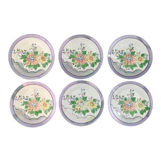 Vintage Hand-Painted Japanese Lustre Floral Plates in Porcelain - Set of 6 For Sale