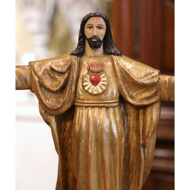 """French 18th Century Spanish Carved Polychrome Gilt Statue of Christ With """"Sacred Heart"""" For Sale - Image 3 of 13"""