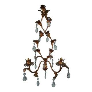 Vintage Italian Metal Tole Glass Prism Sconce For Sale