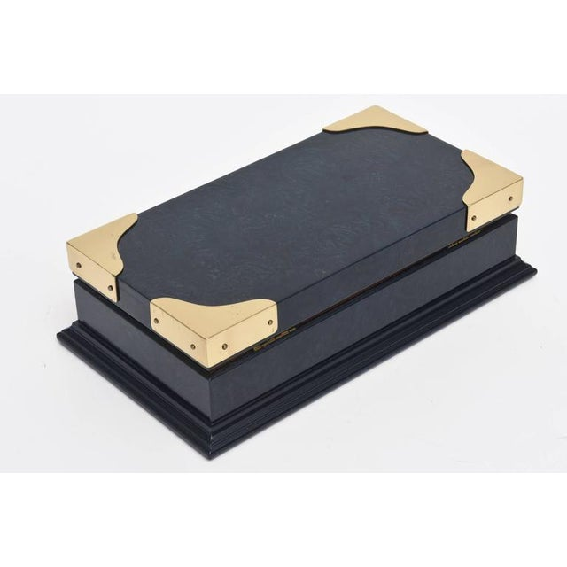 1980s Italian Vintage Gucci Blue Lacquered and Brass Hinged Box For Sale - Image 5 of 10