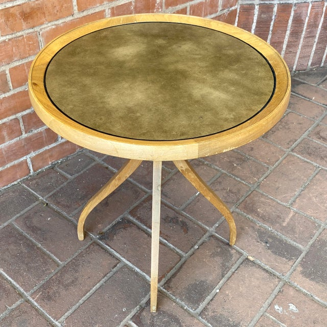 Taupe 1960s Kipp Stewart for Drexel Round Leathertop End Table For Sale - Image 8 of 12