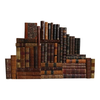 Weathered Leather Book Wall - Set of 50