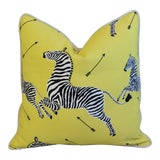 "Image of Scalamandre Iconic Zebra & Velvet Feather/Down Pillow 20"" Square For Sale"
