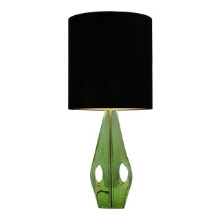 Mid Century French Blown Green Glass Table Lamp For Sale