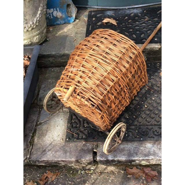 """Wonderful authentic vintage French woven shopping cart. Size given is of basket itself. Handle is 36"""" and will be about..."""