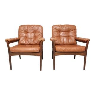 "Vintage Mid Century Göte Möbler ""Carmen"" Leather Armchairs- a Pair For Sale"