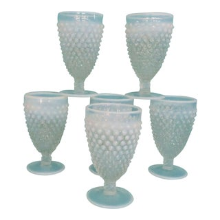 Fenton Hobnail Opalescent White Set of 6 Water Wine Goblets Cups For Sale