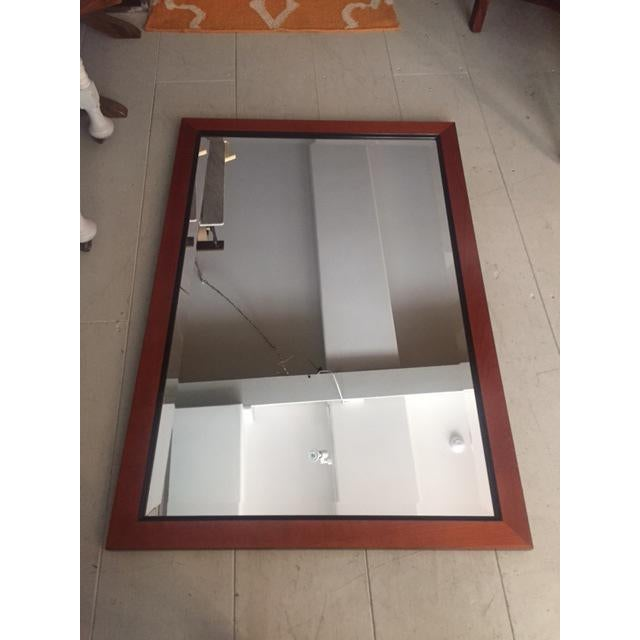 Custom Made Mahogany Framed Beveled Wall Mirror For Sale - Image 10 of 10