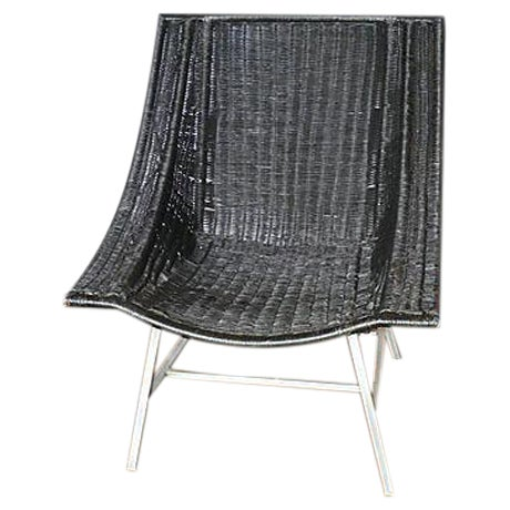Modernist Wicker & Aluminum Lounge Chair - Image 1 of 6