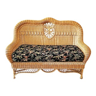 1980s Vintage Ralph Lauren Wicker Settee For Sale
