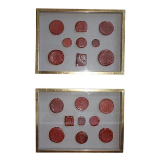 Framed Red Intaglio Wax Seals Collages - a Pair For Sale