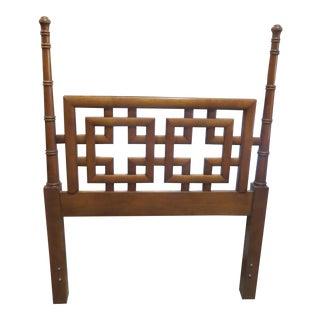 Henry Link Mandarin Asian Chinoiserie Burl Wood Fretwork Twin Headboard