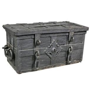 European Wrought Iron Strongbox For Sale