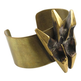 French Artist Henri Nogaret Large Sculptural Brutalist Bronze Cuff Bracelet For Sale