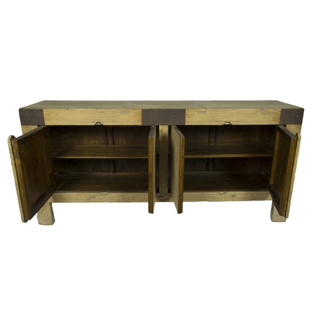 Handcrafted Rustic Wood Sideboard - Image 2 of 3