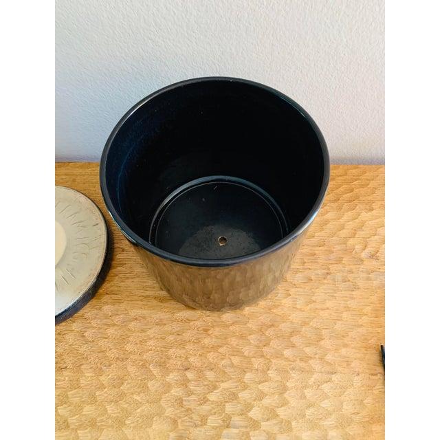 Ceramic Mid-Century Modern Black Gainey Ceramics Planter Pot Plus Draining Platter Saucer For Sale - Image 7 of 10