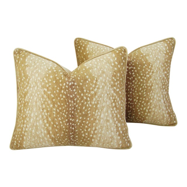 "Antelope Fawn Spot Velvet Feather/Down Pillows 21"" x 18"" - Pair For Sale"