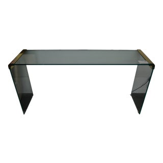 Leon Rosen for Pace Glass & Brass Console For Sale