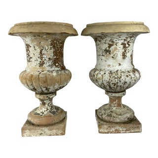French Terracotta Urns, Pair For Sale
