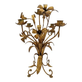 20th Century Italian Gold Gilt Flower Candelabra For Sale