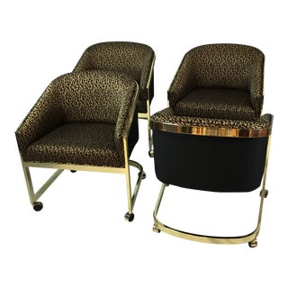 Mid Century Leopard Upholstered Brass Chairs - Set of 4 For Sale