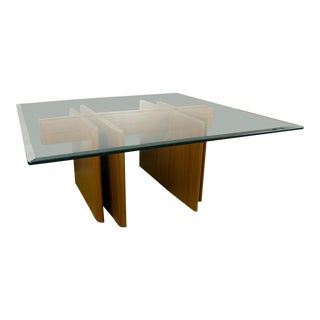 "Vintage Gustav Gaarde for Trekanten Danish Modern Large 42"" Square Teak Glass Coffee Table"
