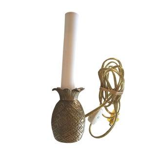 Mid-Century Modern Brass Pineapple Candlestick Lamp