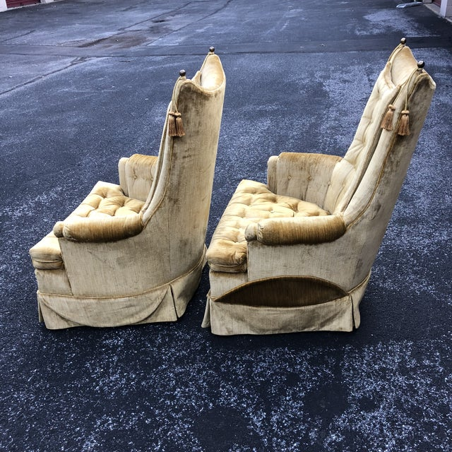 1970s 1970s Vintage Hollywood Regency Style Velvet Tufted Tassel Club Chairs - A Pair For Sale - Image 5 of 13