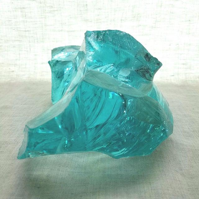 Aqua Slag Glass Sculpture For Sale - Image 4 of 9