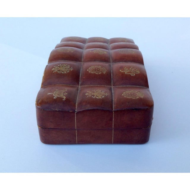 Italian Leather Hand-Tooled Embossed Lidded Keepsake Box For Sale In West Palm - Image 6 of 11